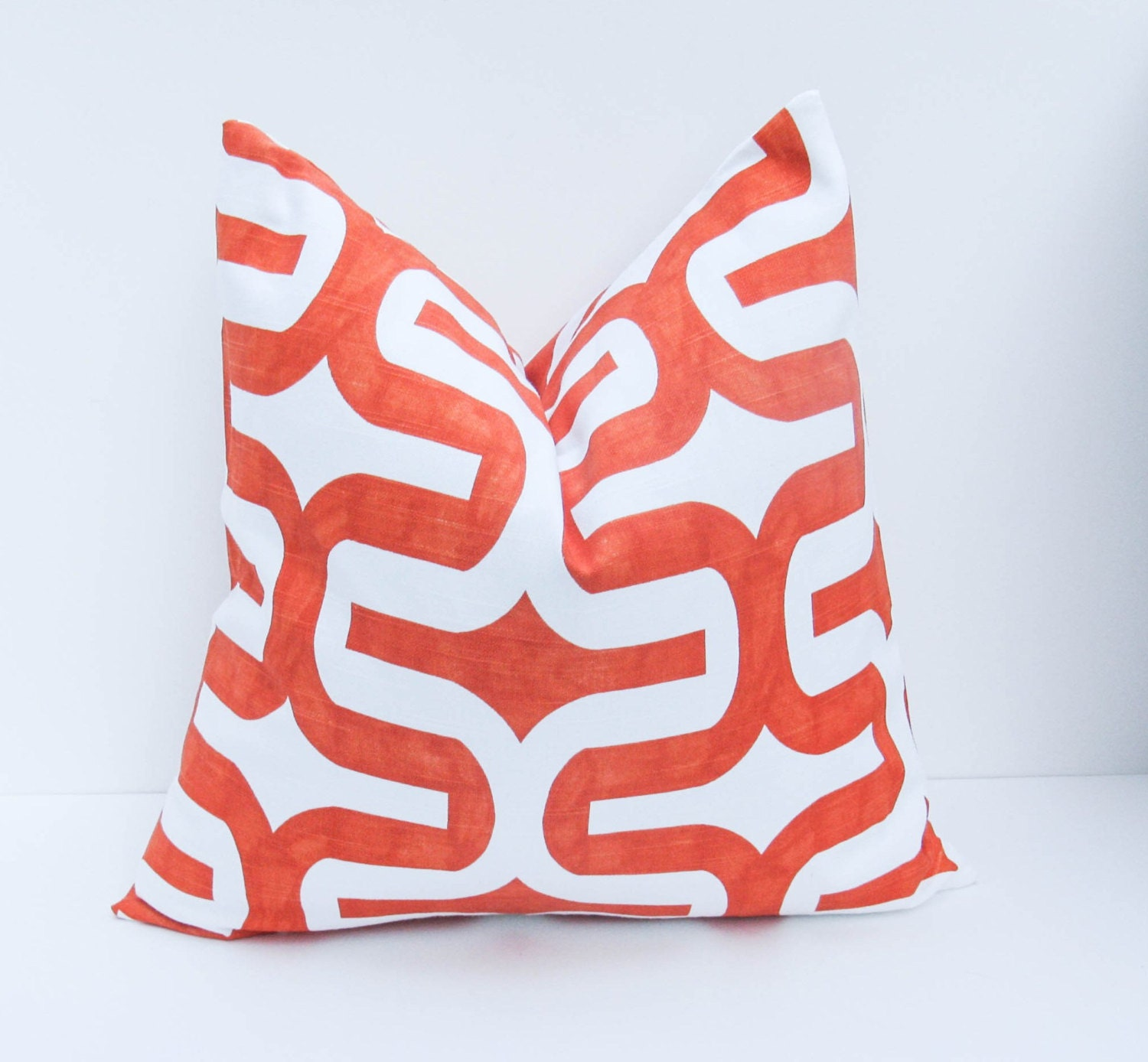 Orange Pillow.Throw Pillow Covers 18x18 Decorative Orange Pillows.Orange Pillow Cover. Ikat Pillow  Printed fabric on both sides