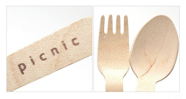 Picnic Fork Spoon Wooden cutlery Set