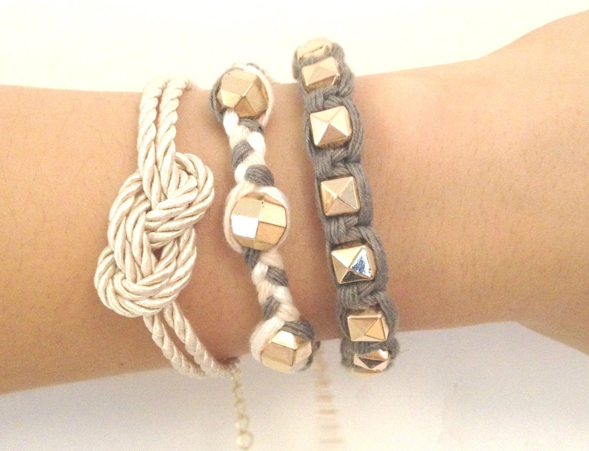 Arm candy set - Gold pyramid beads and White knot - woven bracelet