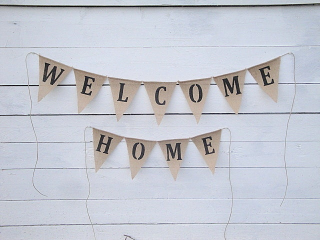 Items similar to welcome home burlap banner home decor for Best home decor on etsy