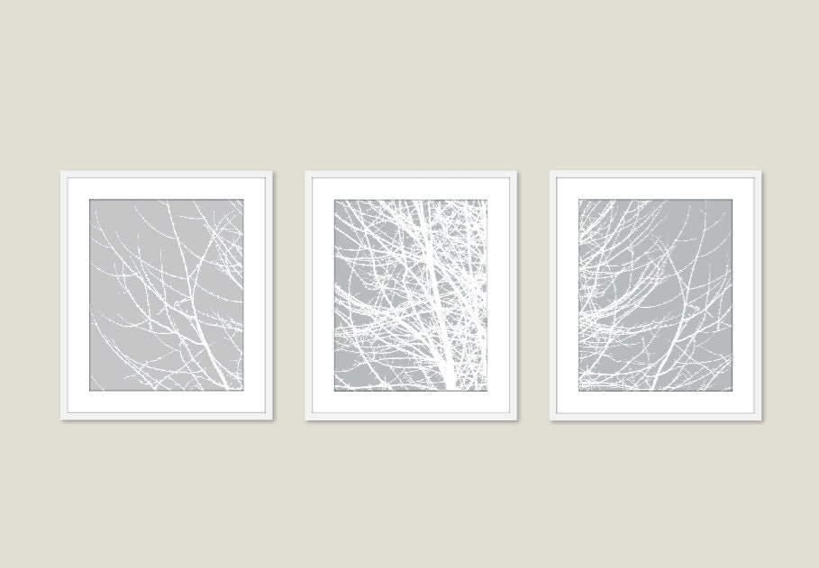 Modern Tree Branches Wall Art Print Set, Woodland Home Decor, Office Decor,Living Room, Grey, Neutral Color - AldariArt