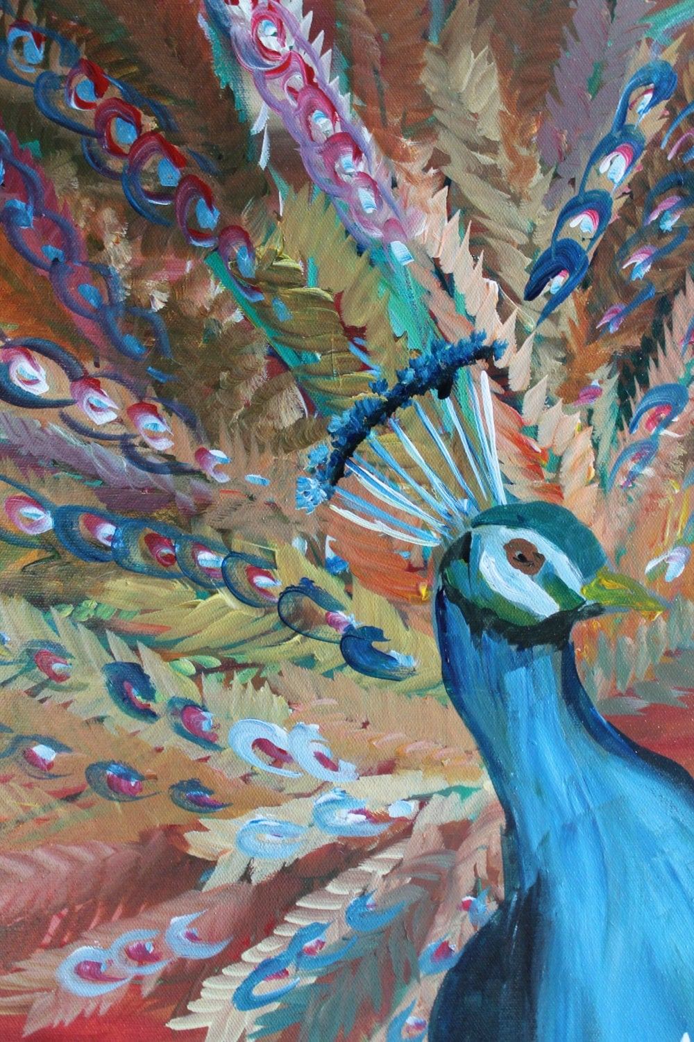 Peacock Golden Panel Original Hand Painted Acrylic On