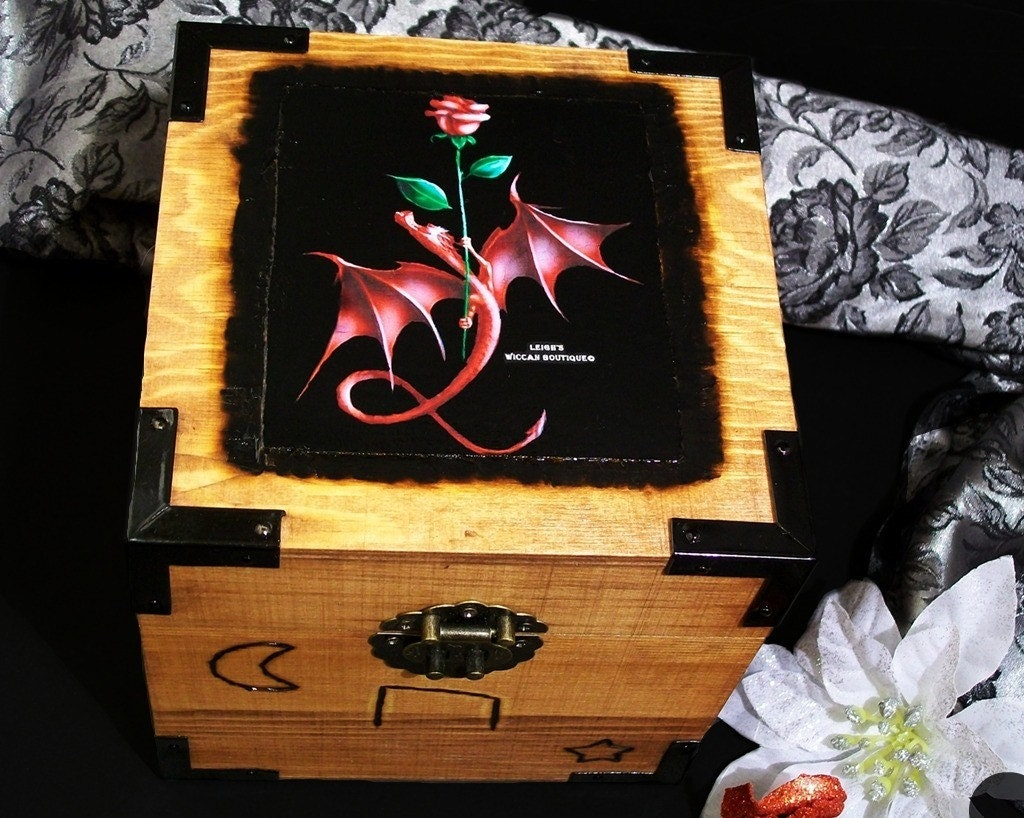 Scented Red Dragon Rune Jewelry Box
