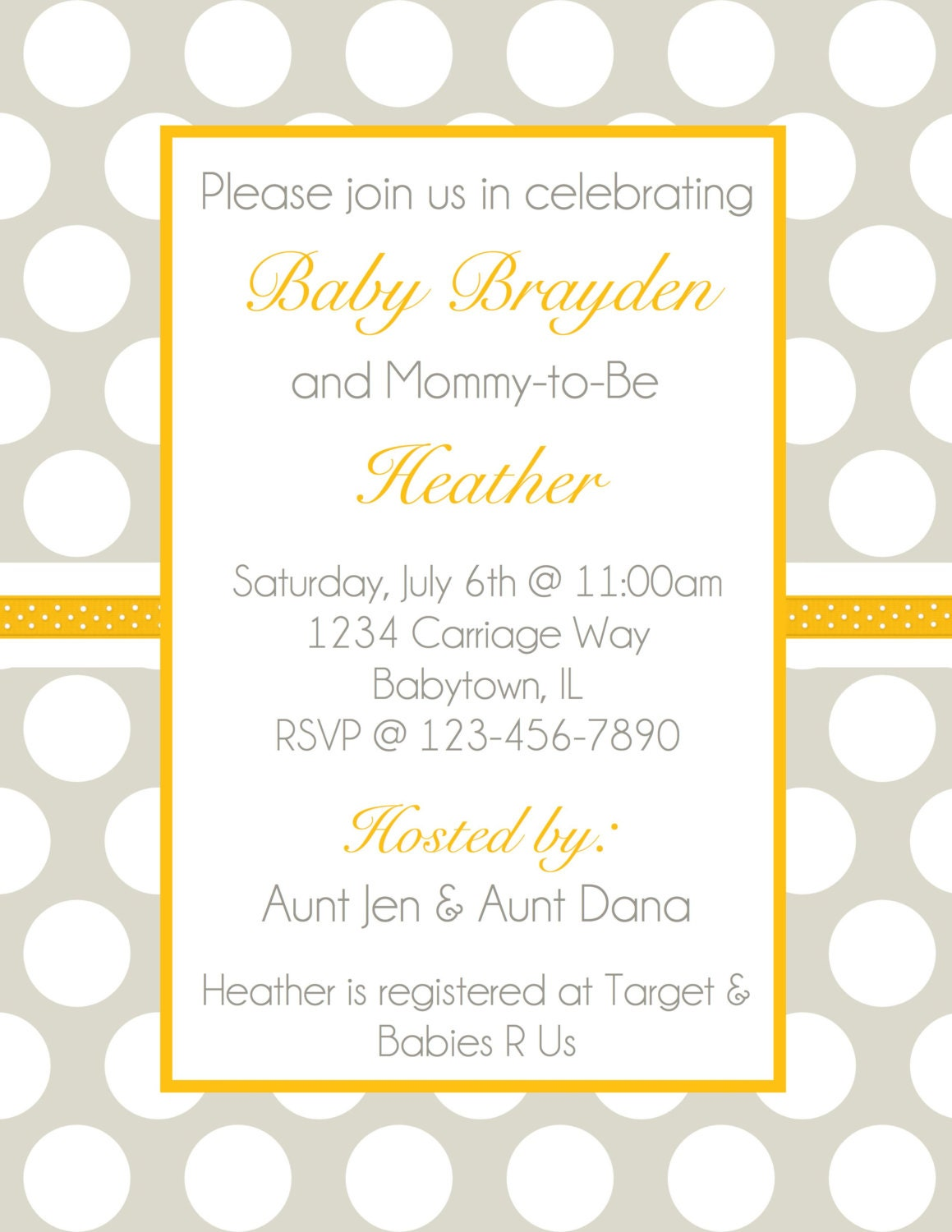 baby shower invitation gray and yellow polka dot gender neutral
