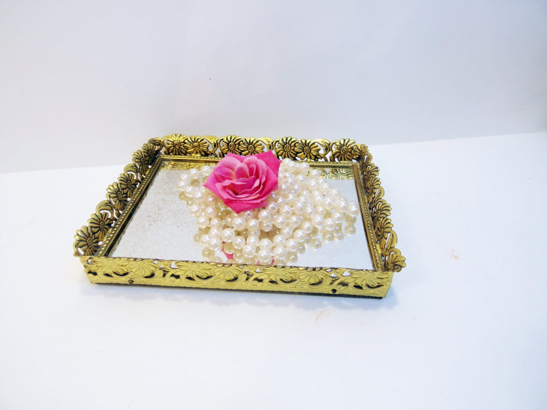 Vintage Shabby Victorian Gold Filigree Mirror Tray Dresser Tray Vanity Tray - AnnClarkInteriors