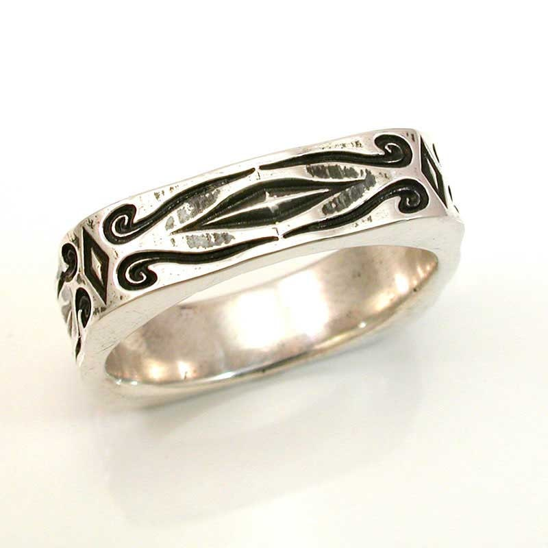 mens engraved silver ring antique styled by swankmetalsmithing