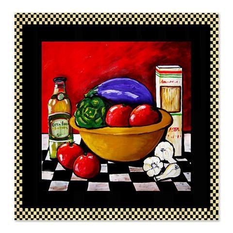 Kitchen Folk Art: Italian Food Kitchen Tomatoes Garlic Folk Art By