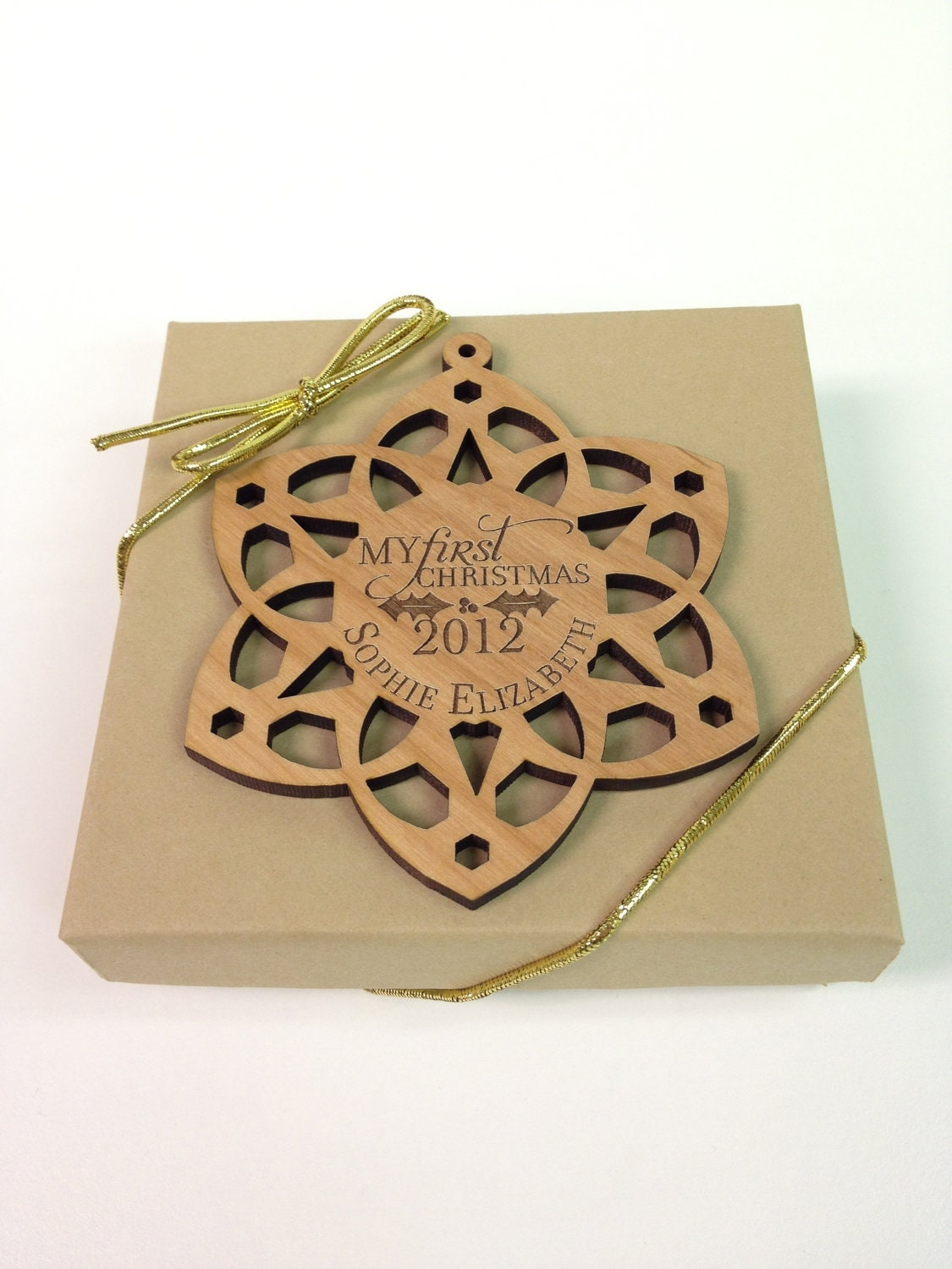 Custom Wooden Baby's First Christmas Snowflake Ornament Laser Engraved - UrbanTimberWoodworks