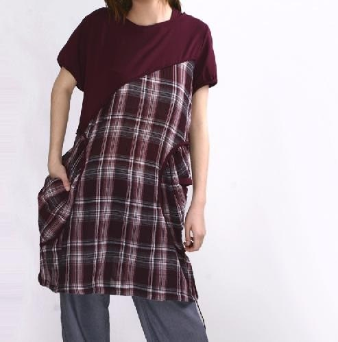 Great personality bias cut plaid  pocket Long  shirt by gysde from etsy.com