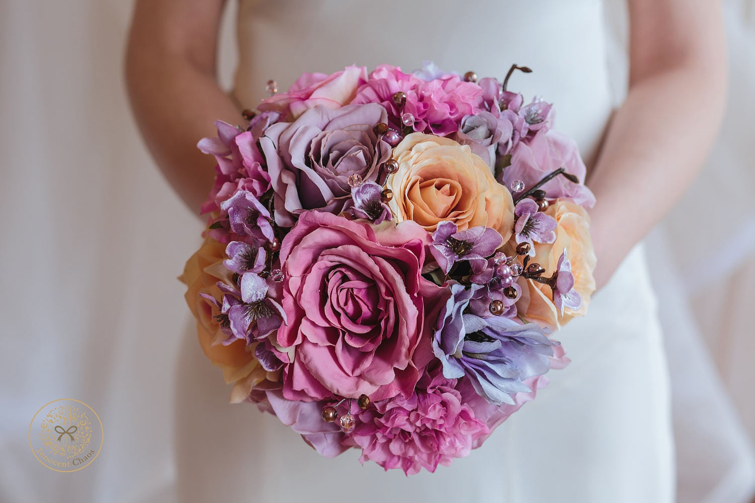 Image of Pink and purple bouquet, colourful bouquet, purple wedding flowers, spring bouquet, multicoloured wedding, hydrangea bouquet, ready to ship
