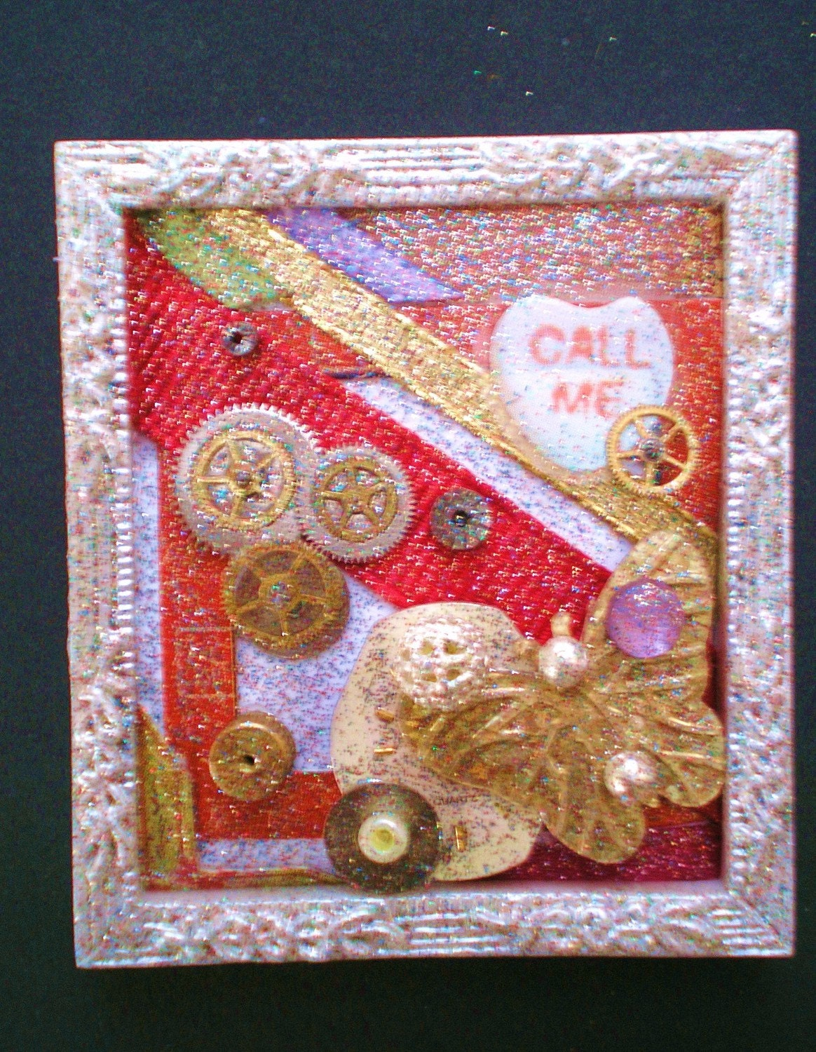 DEPARTURE - Tiny Collage Mixed Media OOAK Framed Signed with Jewels Gold Butterfly Heart Ribbon Watch Parts