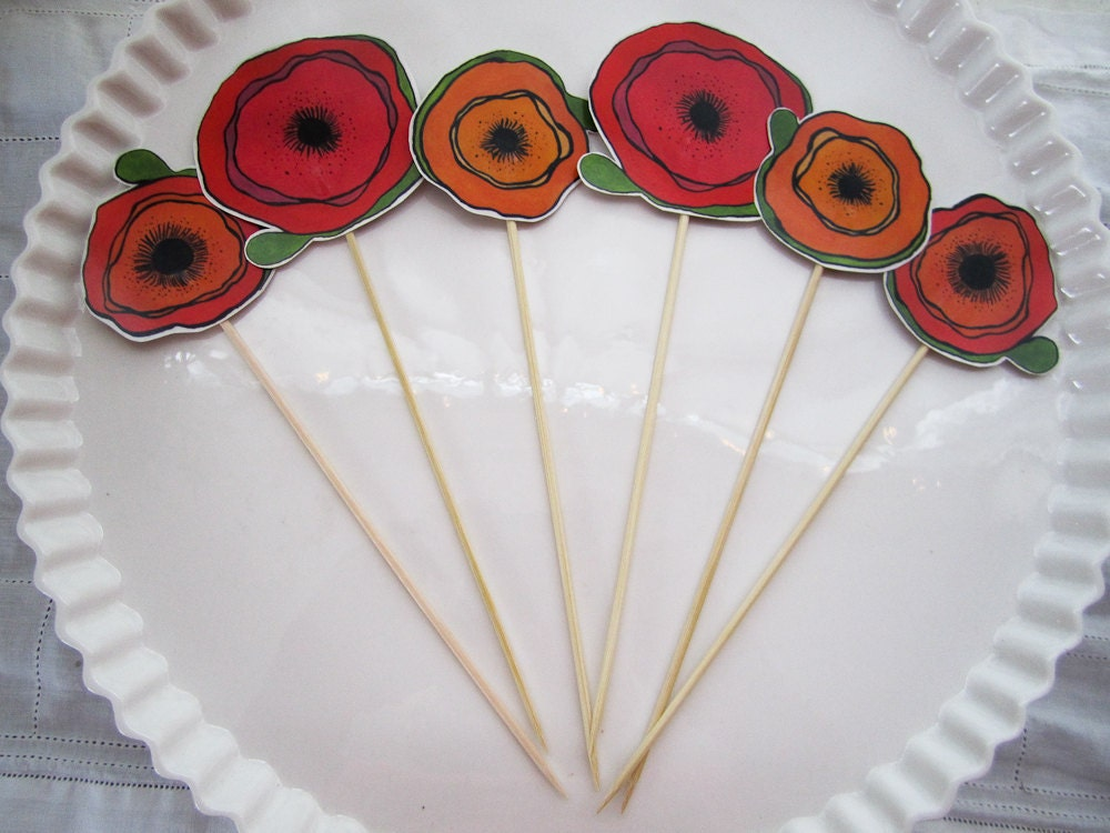 Poppy Cupcake Toppers - Colorful Flower Blooms Orange and Red Wedding Decor