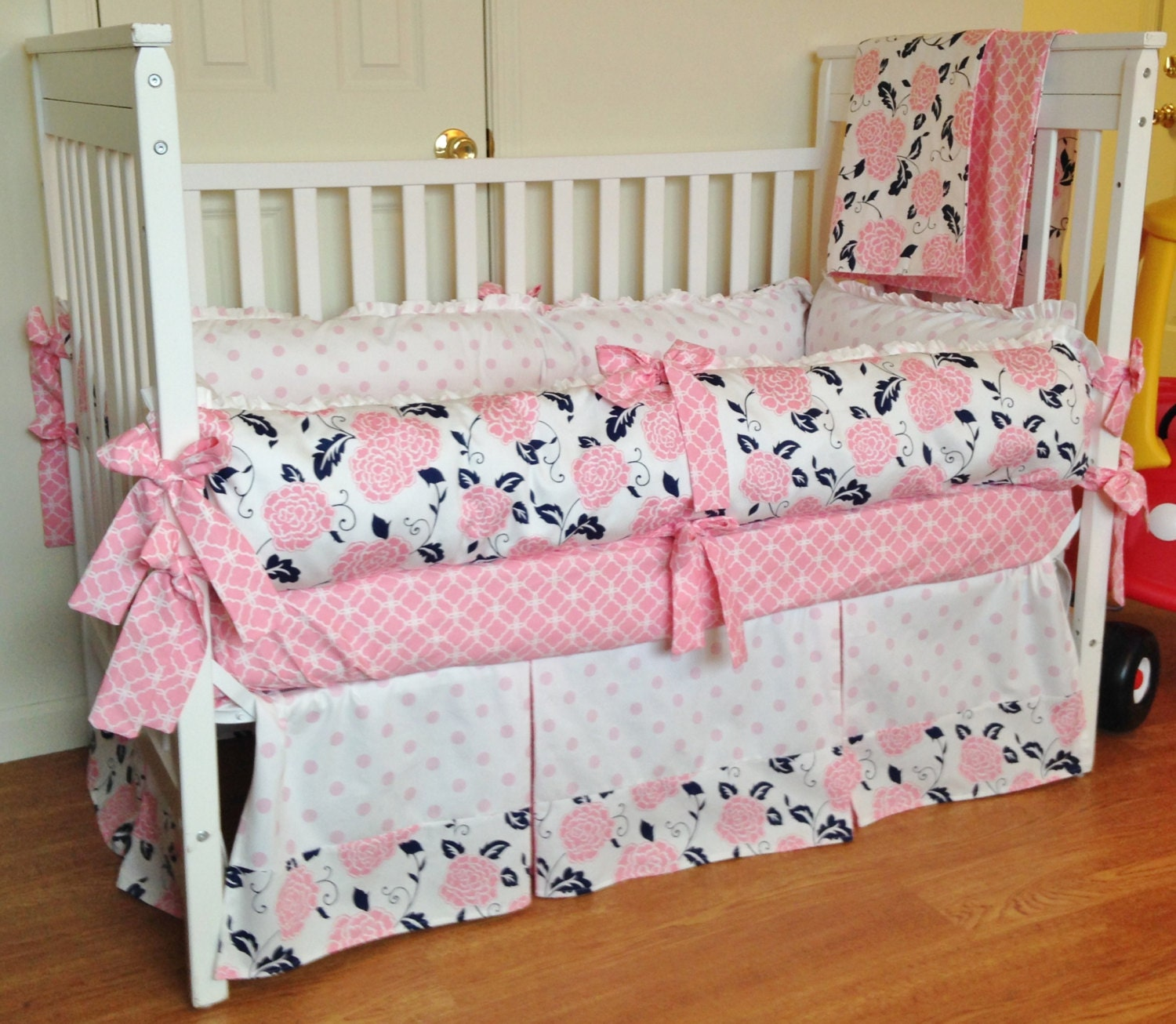 items similar to crib bedding baby girl bedding set navy pink white design your own crib. Black Bedroom Furniture Sets. Home Design Ideas