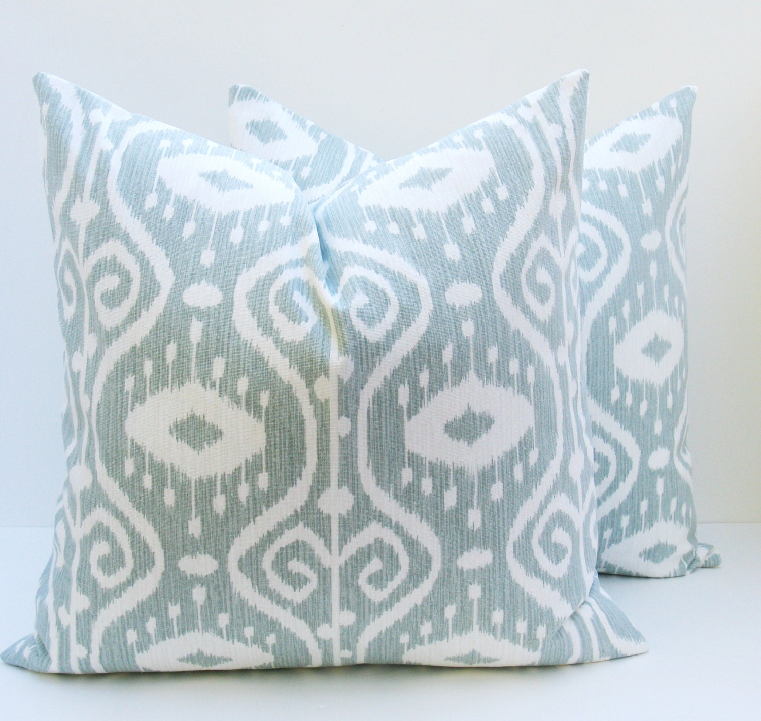 Ikat Pillow 20x20 Blue Green Pillow. Light Blue. 20 x 20. Gray Blue .Decorator Pillow Covers Cushions Housewares  Printed fabric both sides