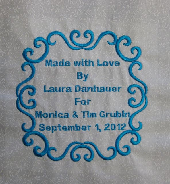 Quilt Label Custom Medium Embroidered Label About By