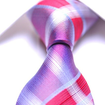 Silk Tie Bright Pink Purple White Plaids Necktie / Tie / Mens Tie / Men's Silk Tie - Wedding Tie - Silk Neckties / Ties - Gift for Men / Man