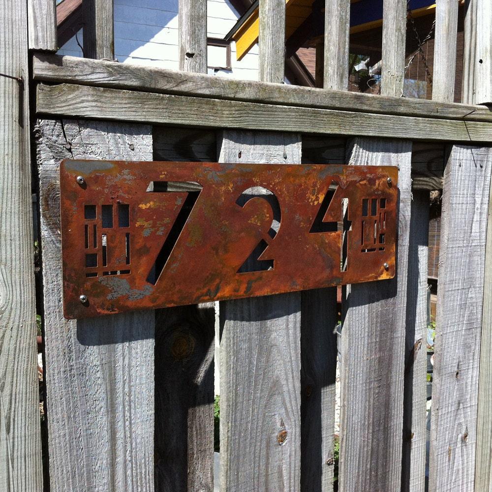 Custom Prairie Style House Numbers In Rusted By Modaindustria