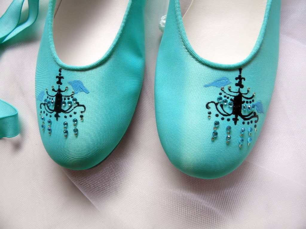 Wedding Shoes tiffany blue flats chandeliers and birds.
