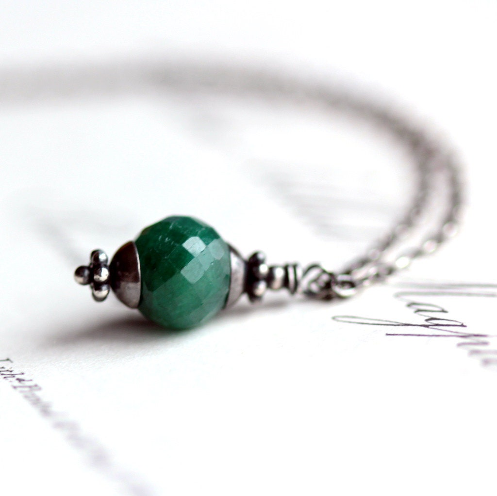May Birthstone Emerald Necklace with Sterling Silver Chain Precious Stone Pendant Summer Fashion Woodland - JarosDesigns
