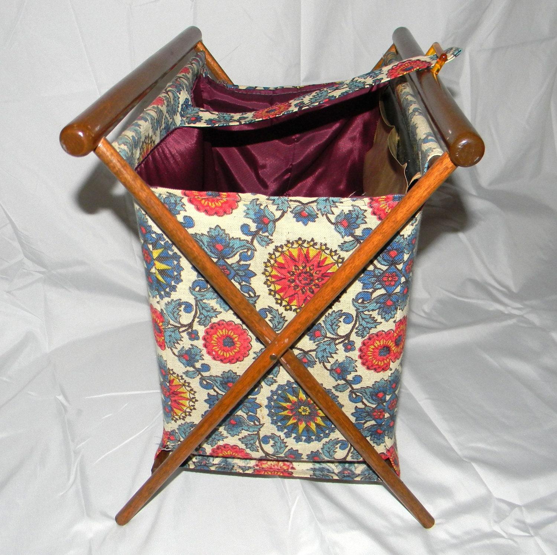Vintage Knitting Bag : Vintage knitting basket bag wooden frame by