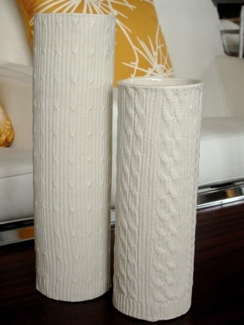 Knitware Vase--Aran Cable
