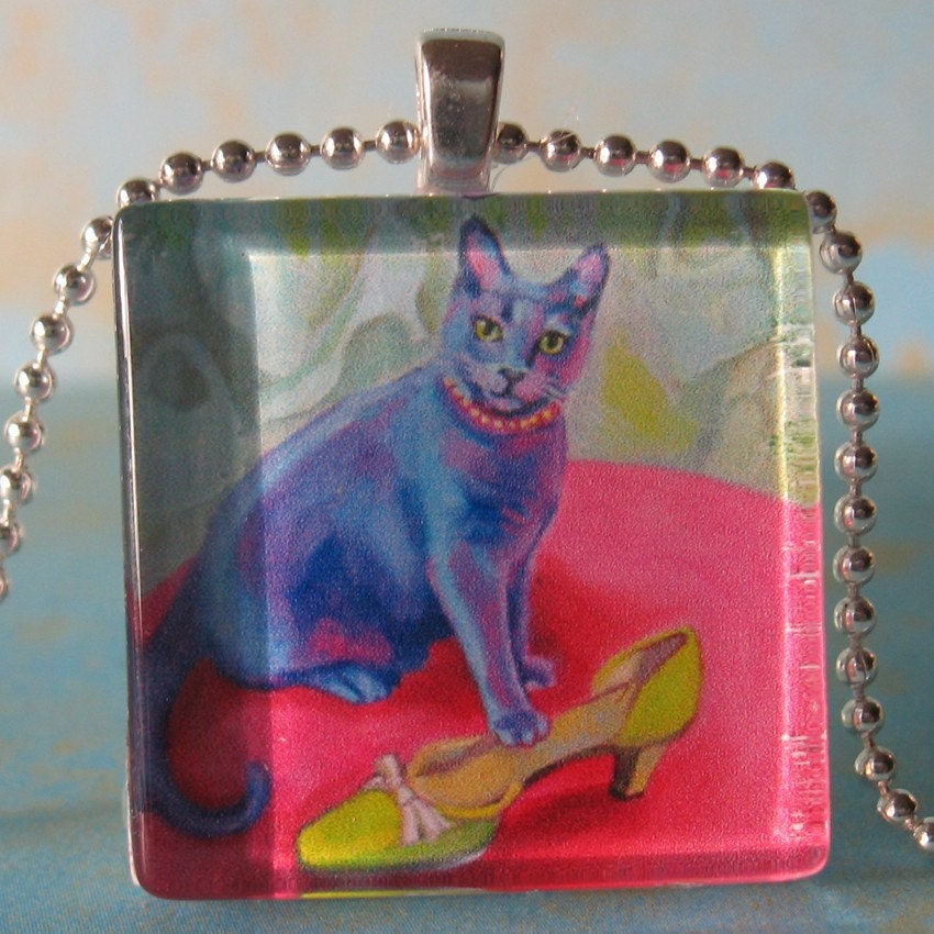 Cat with a Green Shoe (Cinderella) Glass Tile Pendant by Gena Semenov FREE SHIPPING US