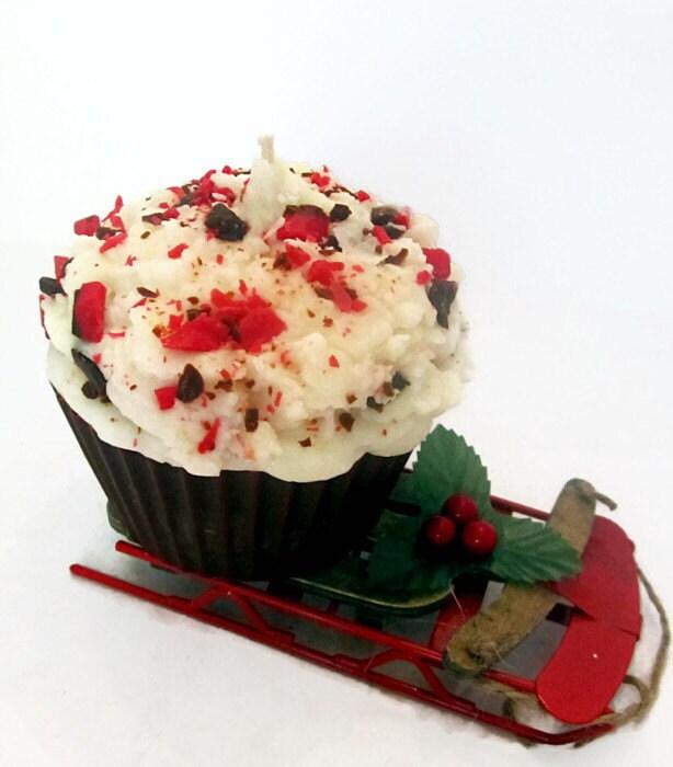 Extra Large Peppermint Bark Cupcake Candle - CandlelitDesserts