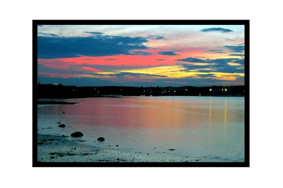 Sunset On Casco Bay, Portland, Maine, 24 x 16 Photograph, Framed Gallery Wrap Canvas Print, Ready To Ship, The Maine View