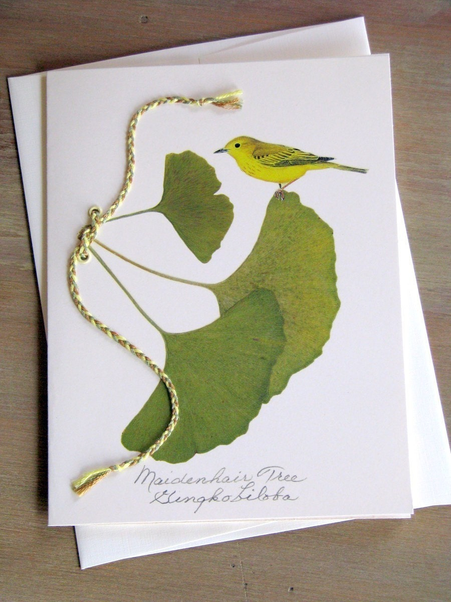 Ginko Leaves w/ Bird and Braided Tie, Greeting Card - 1056-2