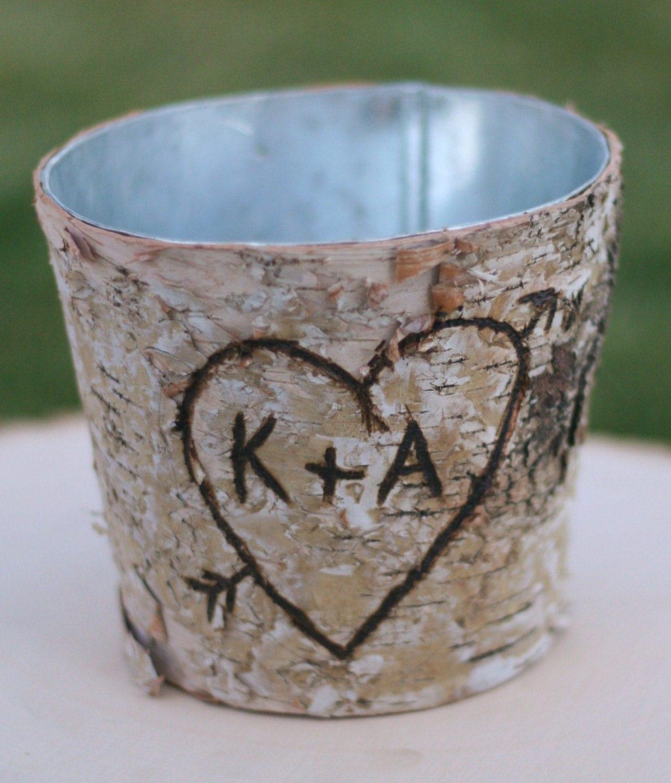 Birch Vase Centerpiece Flower Arrangement Holders Personalized Rustic Cinderella Renaissance Fairytale Woodland