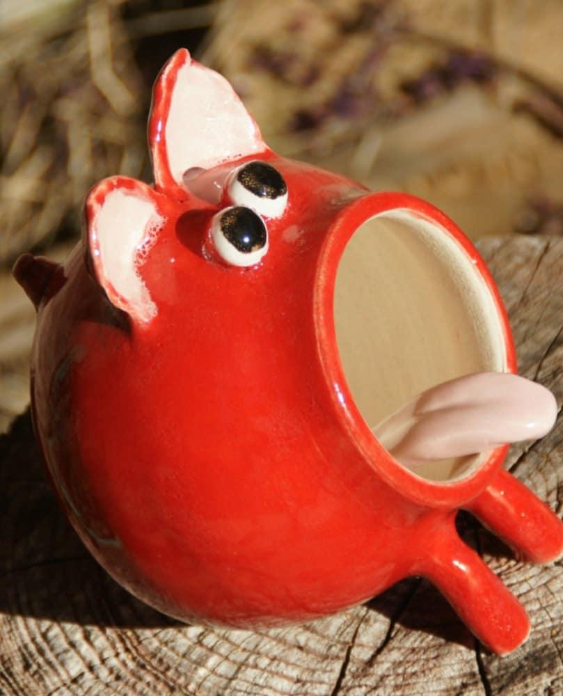 Eric - Red Ceramic Salt Pig, Hand Thrown Stoneware Pottery - muddywaterscc