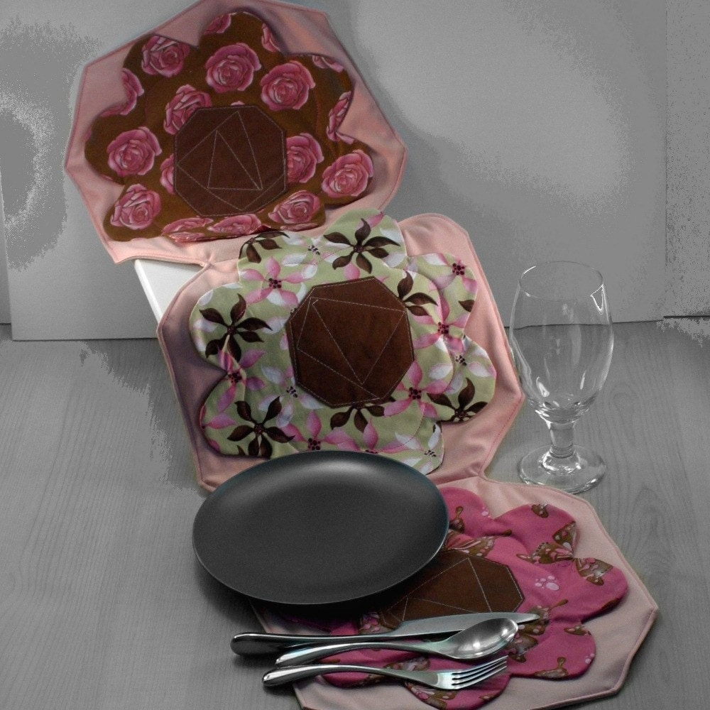Handmade Pink Floral Trio Table Runner