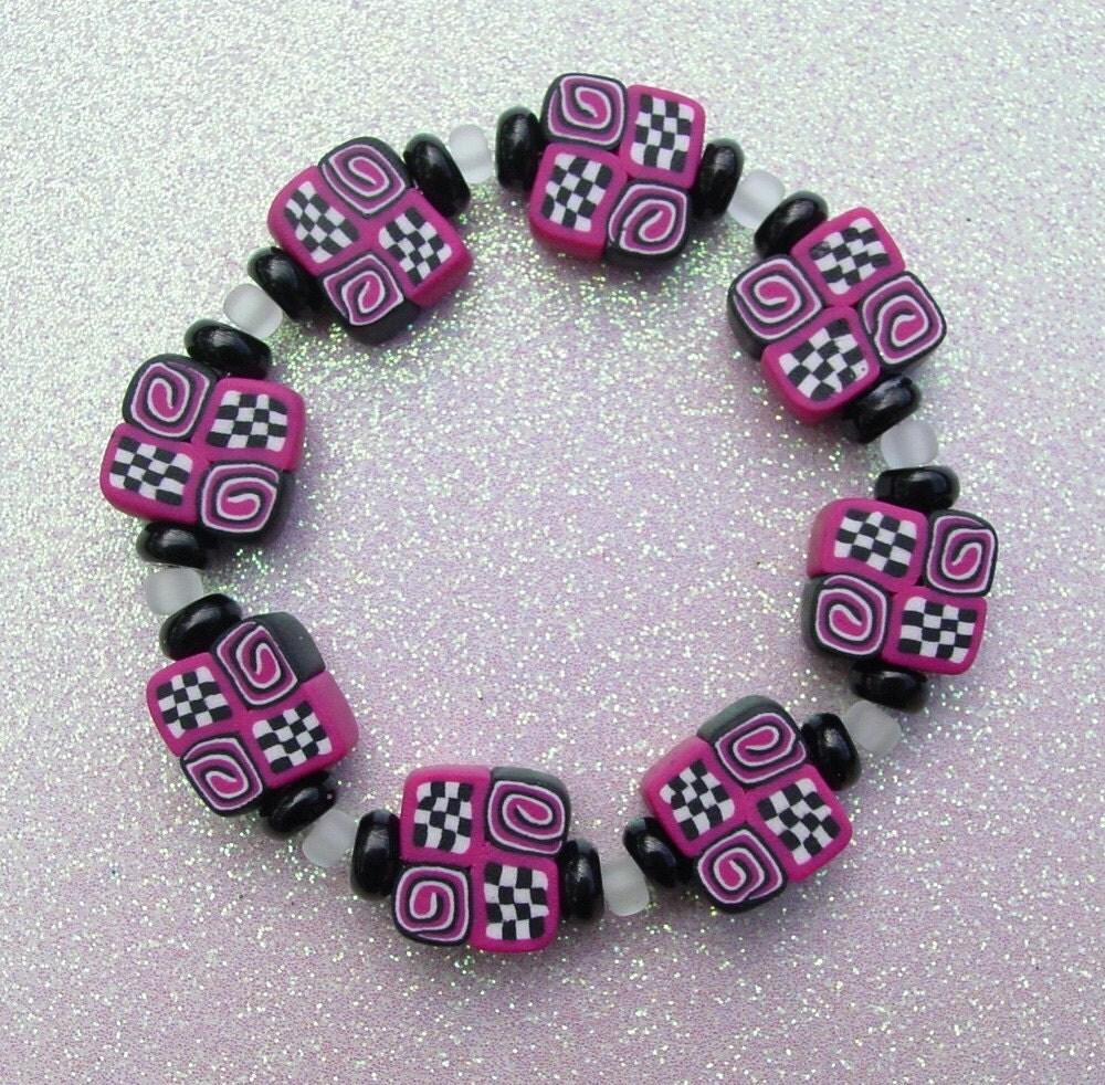 Raspberry Checkered Bracelet