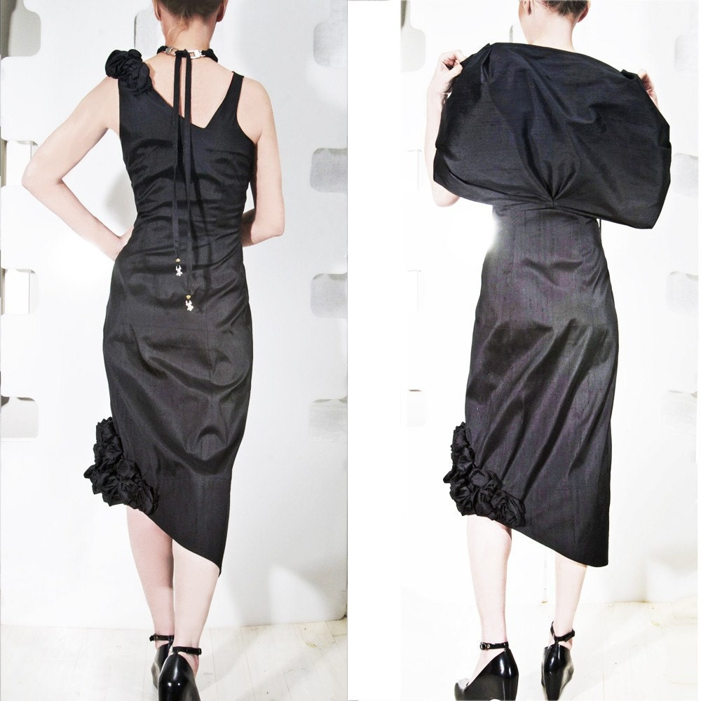 Silk Shantung Rose Dress in Black - Fitted Sculptural haute couture Cocktail evening wear - Black - made to Order -
