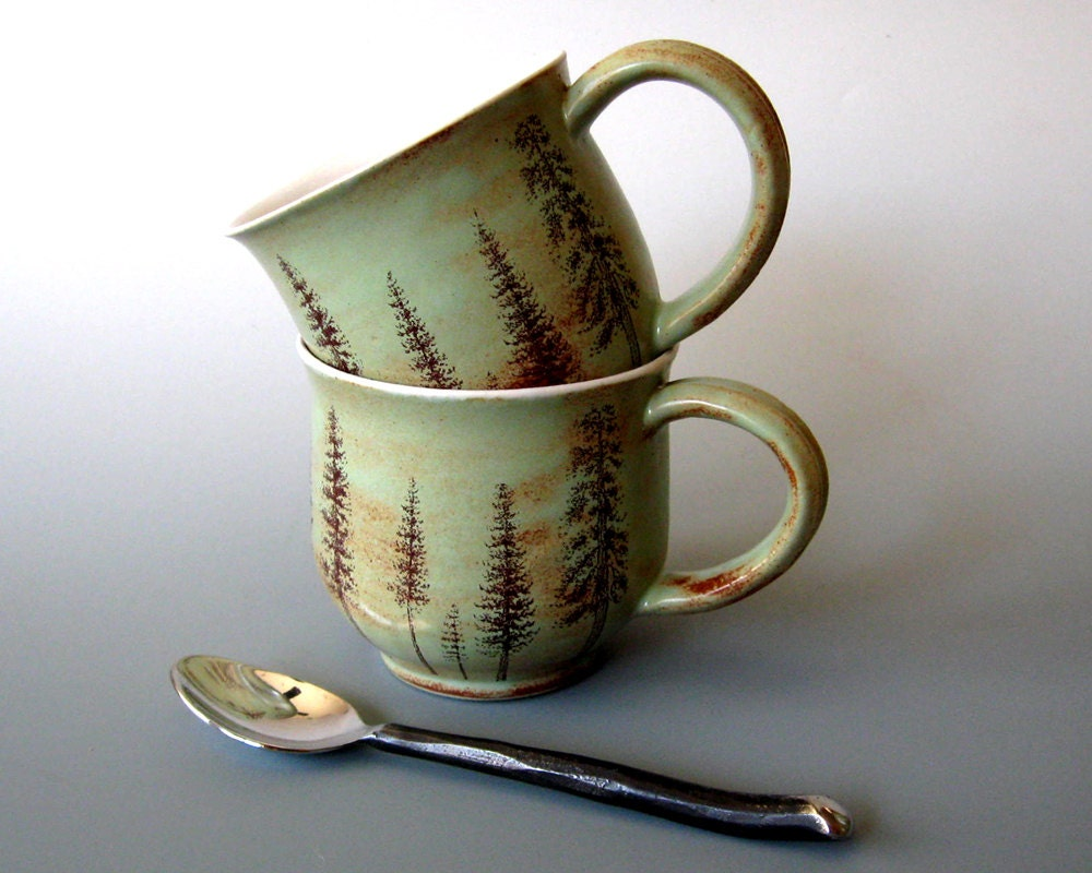 Ceramic Mug - Ponderosa Pine Trees -  Hand Thrown Stoneware Pottery
