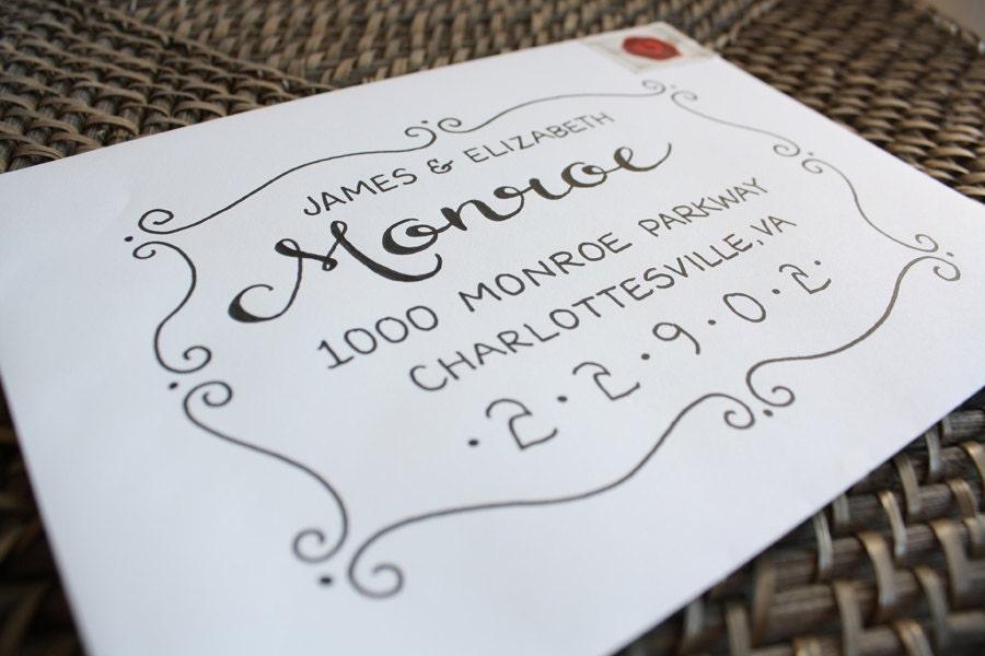 """Calligraphy Envelope Custom Addressing """"Monroe Style"""" Handwritten"""
