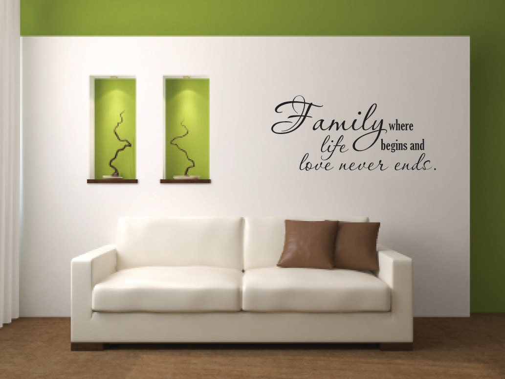 Vinyl wall decal family where life begins and by for Living room wall quote ideas