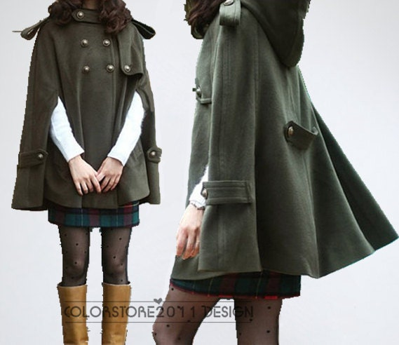 Army green cape Wool Cape Cashmere coat double breasted button coat winter coat Hood cloak Hoodie cape Hooded Cape dy03 M,L