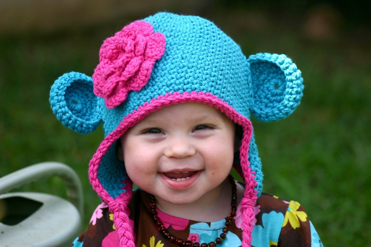 12-24 months Monkey Hat in peacock blue and bright pink