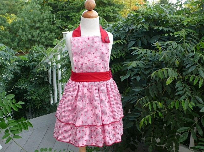 Red Gingham Child's Apron