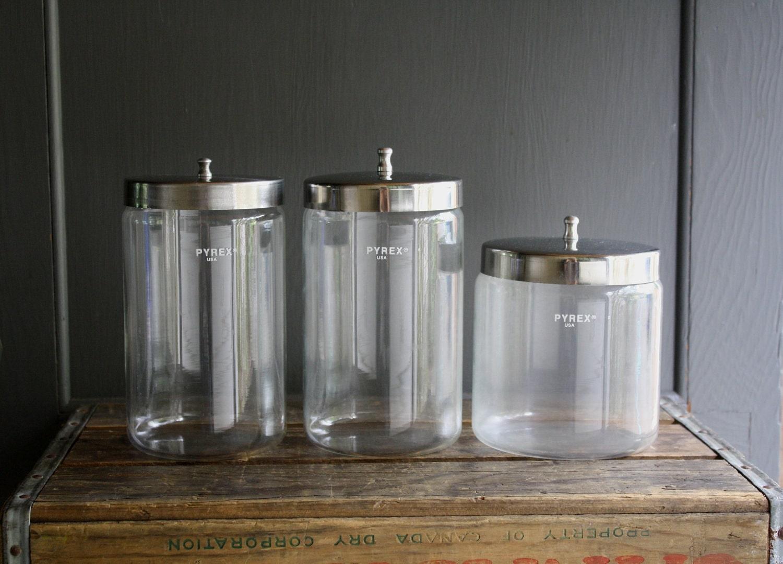 Vintage Pyrex Medical Storage Canisters By Littlebyrdvintage