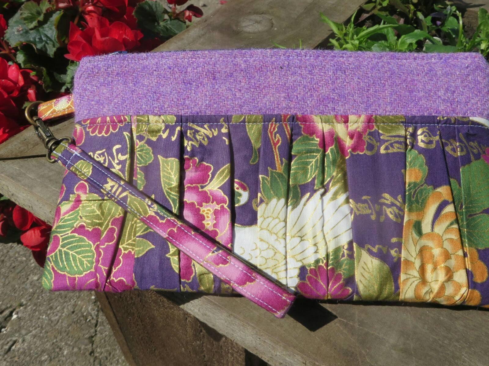 Harris Tweed Ruffled Wristlet Pouch ClutchBag oriental inspired  purple Harris tweed