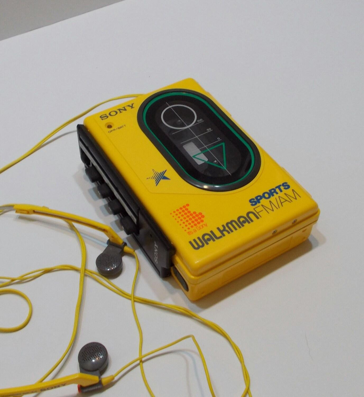 1986 Sony Walkman Yellow Sports by DesertGirlsGoodies on Etsy