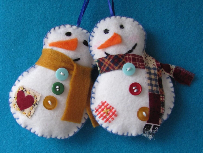 Cute Felt Снеговик х 2