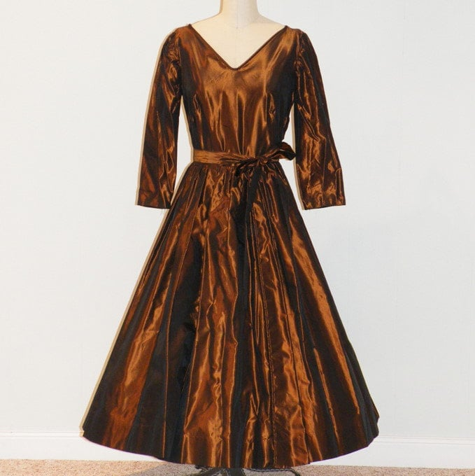 Vintage 50s Iridescent Copper Taffeta Formal Cocktail Prom Wedding Party Dress, Plunging V Bodice, Gathered Circle Skirt, Sash Belt, Viva Las Vegas