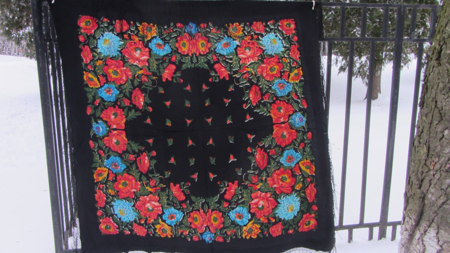 Floral Scarf Pure Wool Vintage Black Ukrainian, Russian Floral Scarf, black shaw