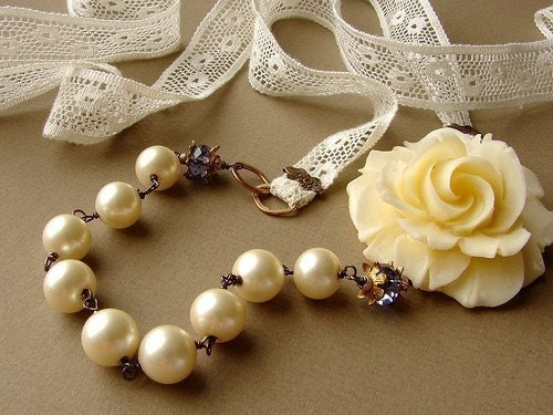 Cherish - Creamy Rose Necklace - vintage Lucite off white rose, glass pearls, purple, laces