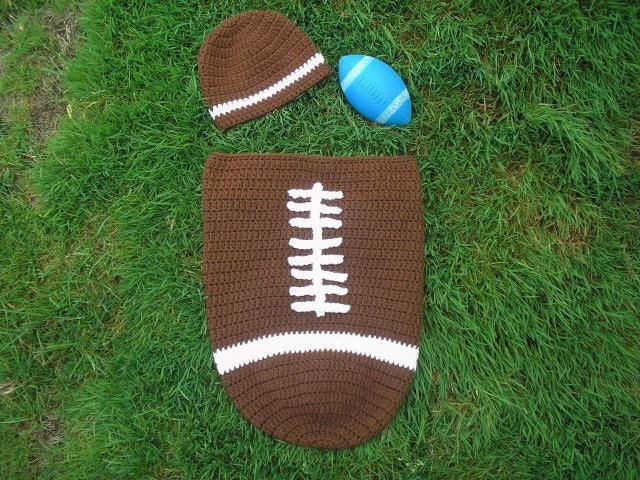 SALE: Crochet Football Baby Cocoon & Hat Set Pattern - TupeloHoneys