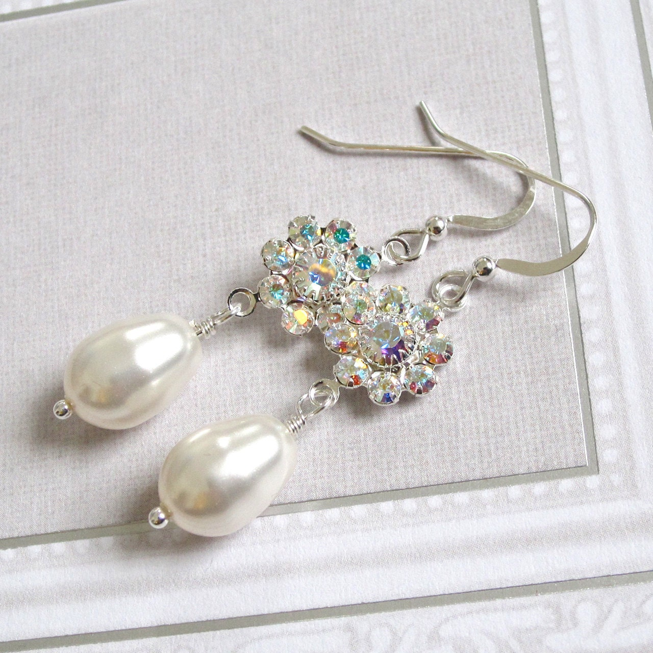 Swarovski crystal rhinestone flower pearl drop bridal earrings