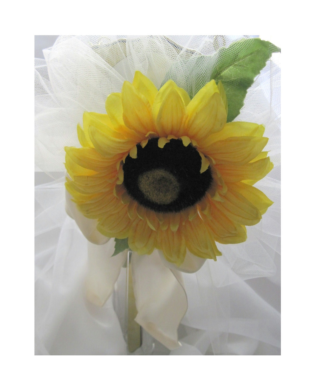 Wedding Bouquet, Silky Golden Sunflower Blossom, Green Leaves, Attaches to Wedding Art  Mirrors, For Bride, Bridesmaid, Or Maid of Honor
